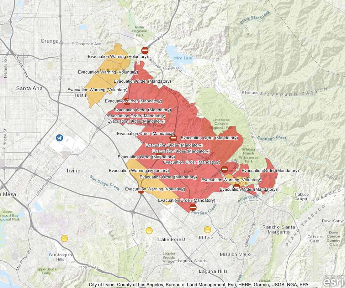 Silverado Fire evacuation zones