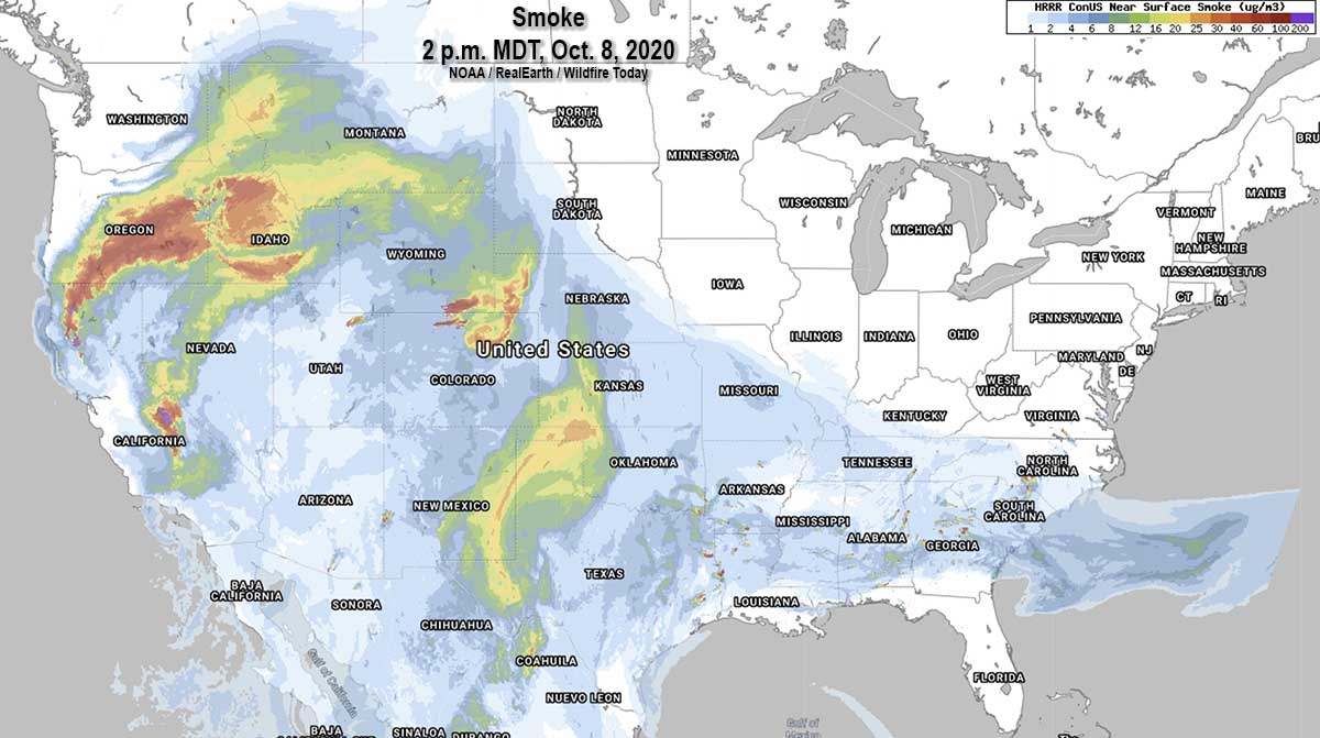 wildfire Smoke map, 2 p.m. MDT October 8, 2020