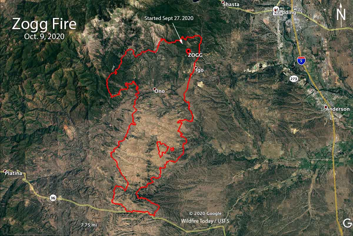 Map of the Zogg Fire