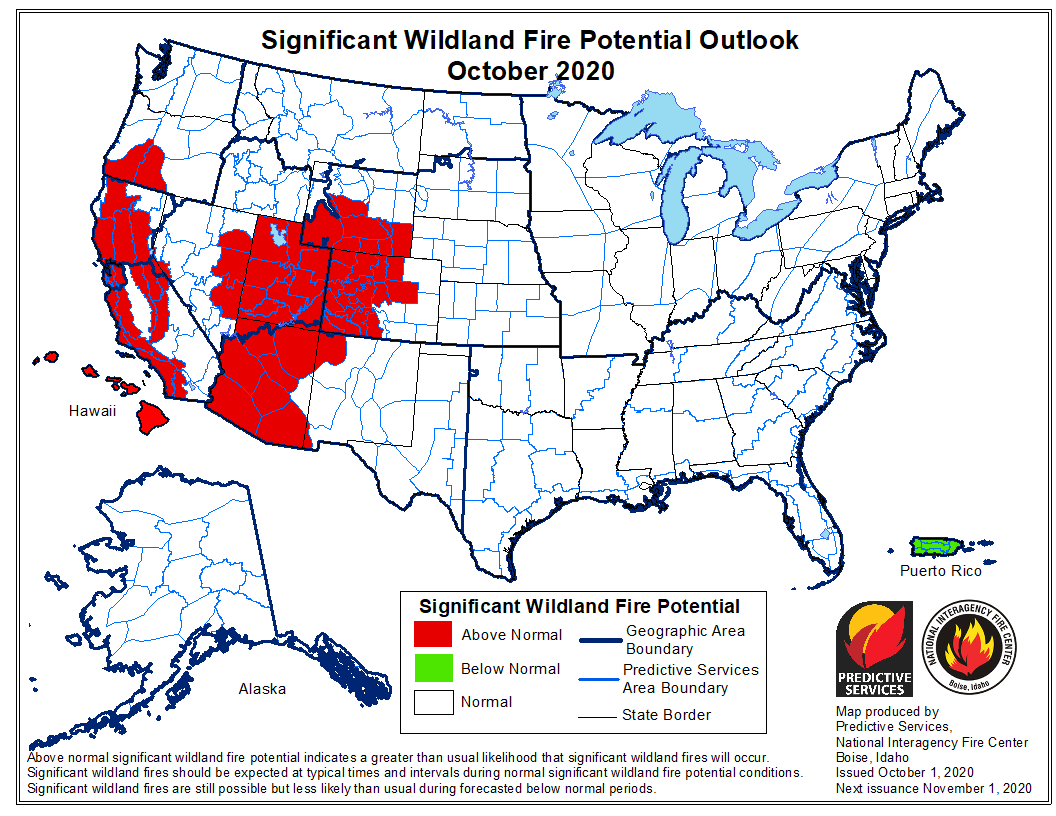 wildfire potential for October, 2020