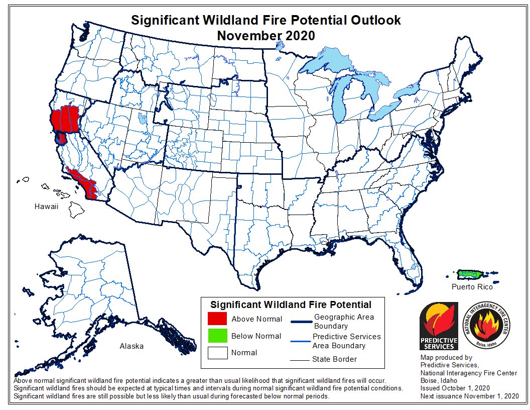 wildfire potential for November, 2020