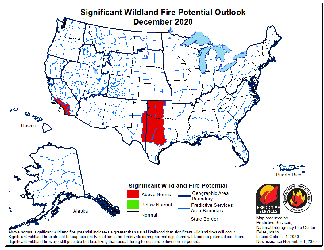wildfire potential for December, 2020
