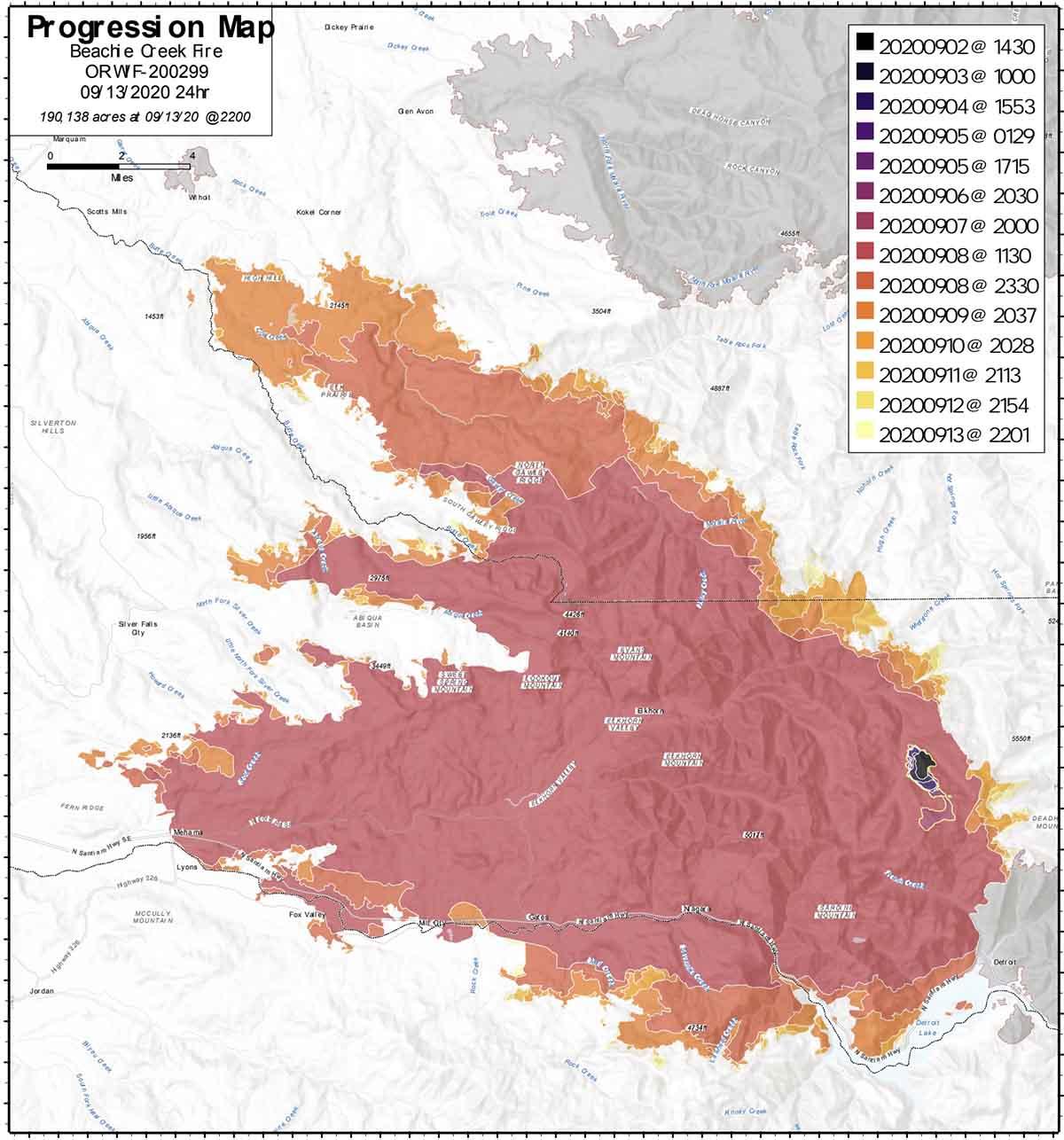Beachie Creek Fire progression map