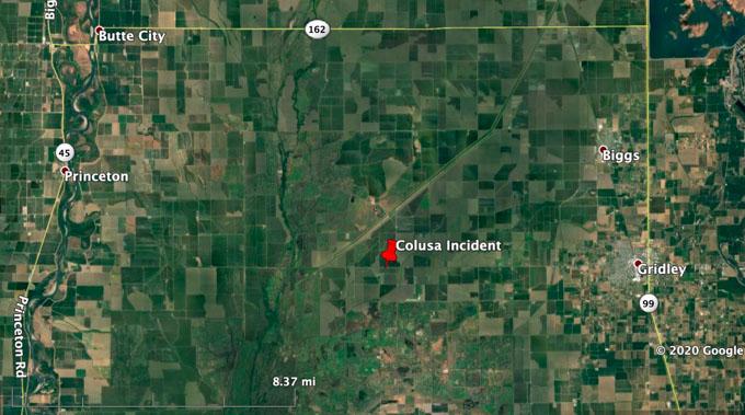 Map, Colusa Incident propane truck fire
