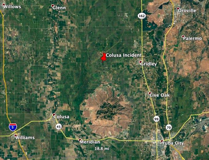 Map, Colusa Incident