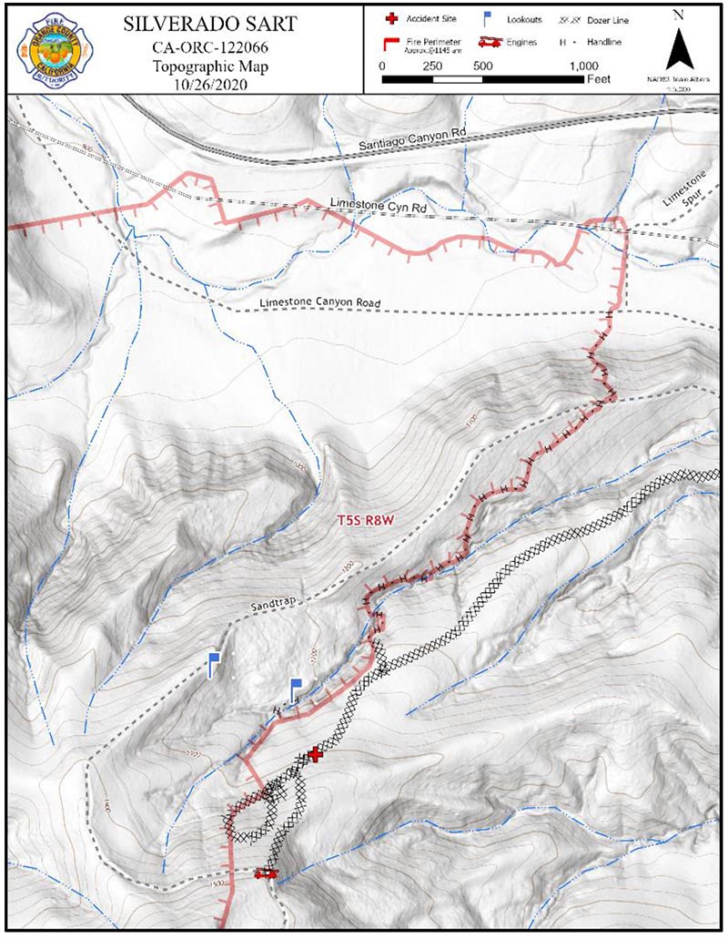 Map, Silverado Fire burnover October 26, 2020