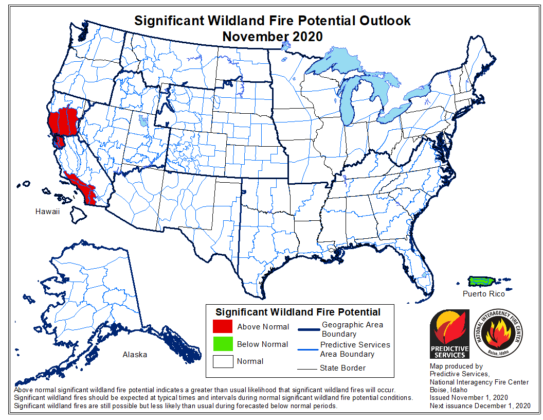 wildfire potential November