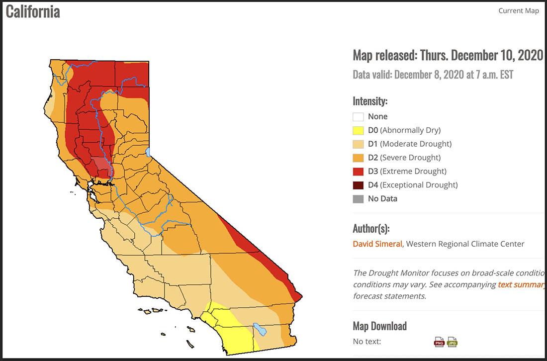 California Drought Monitor, December 8, 2020