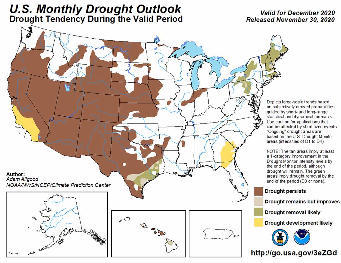 Monthly Drought Outlook, December, 2020