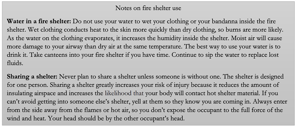Notes on fire shelter use