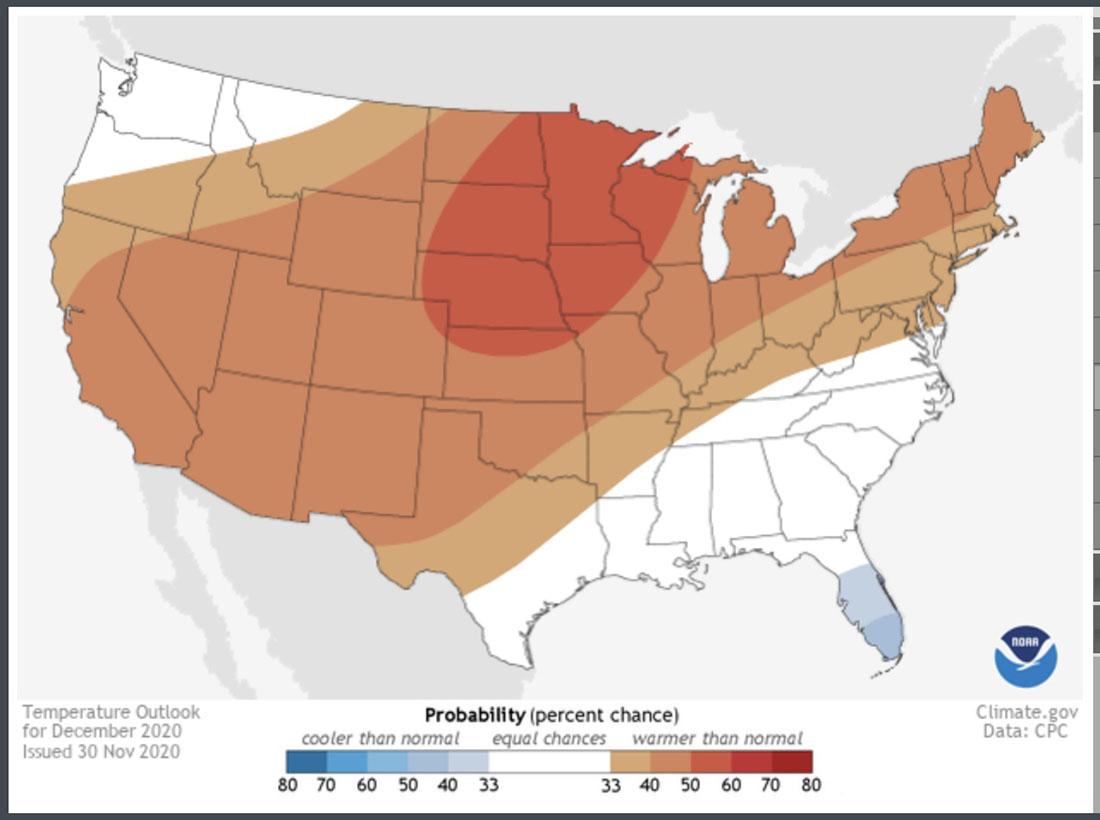 Temperature outlook, December, 2020