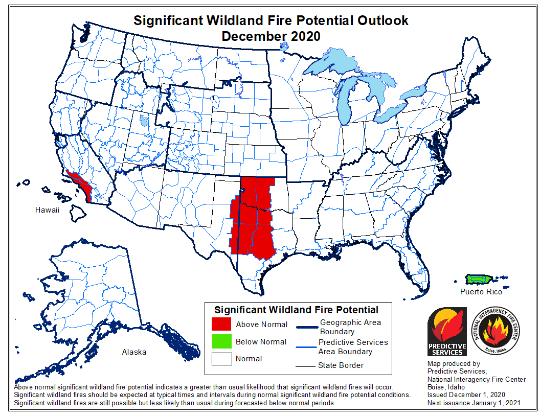 outlook wildfire potential December