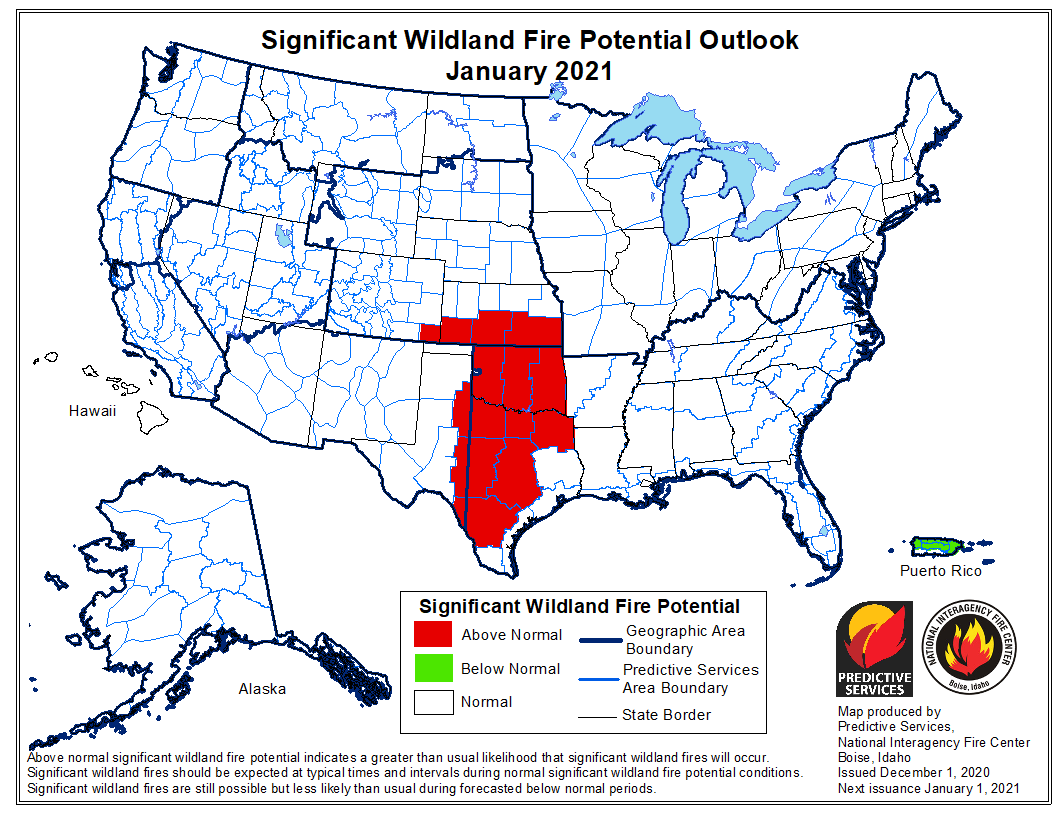 outlook wildfire potential January