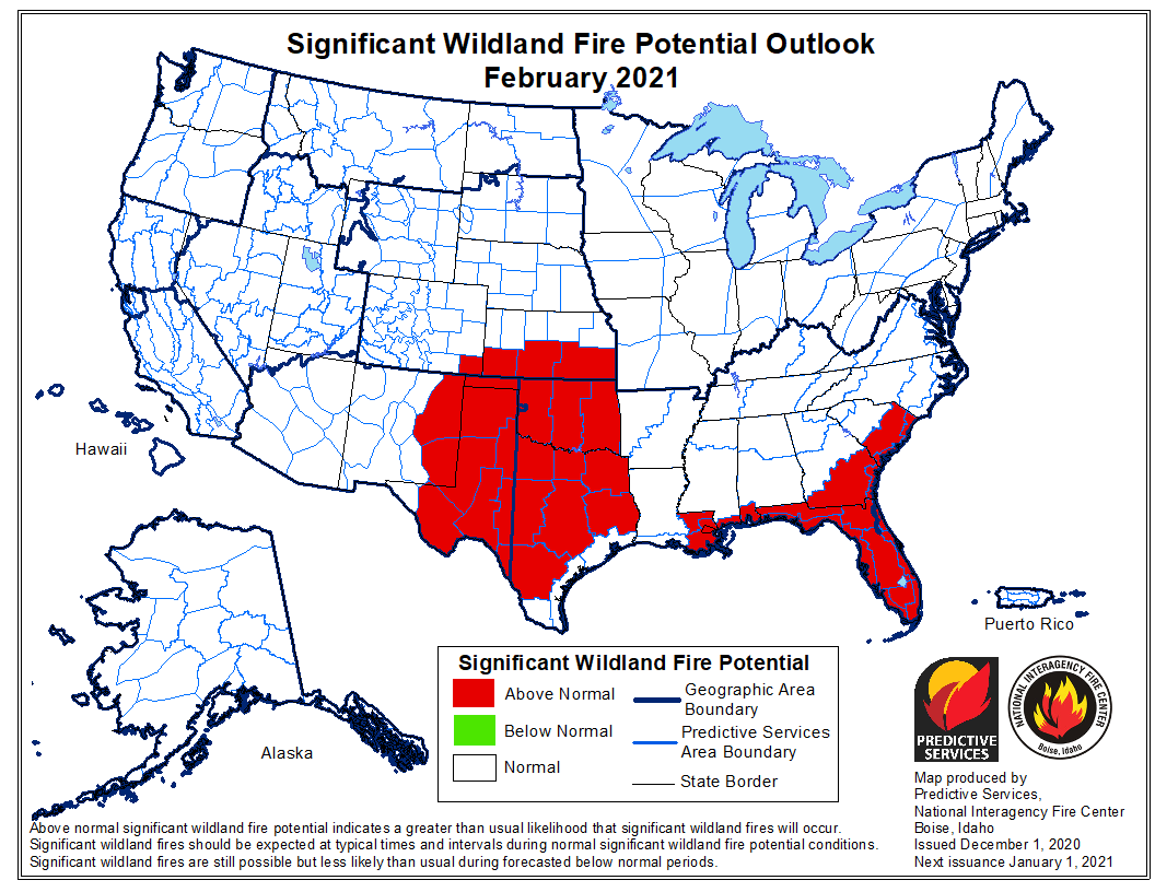 outlook wildfire potential February