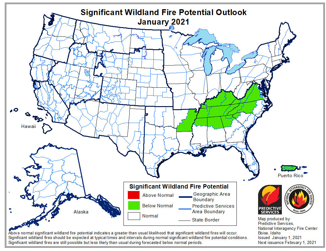 wildfire potential January, 2021