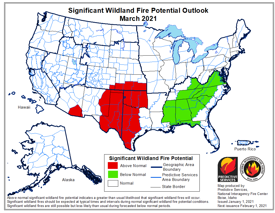 wildfire potential March, 2021