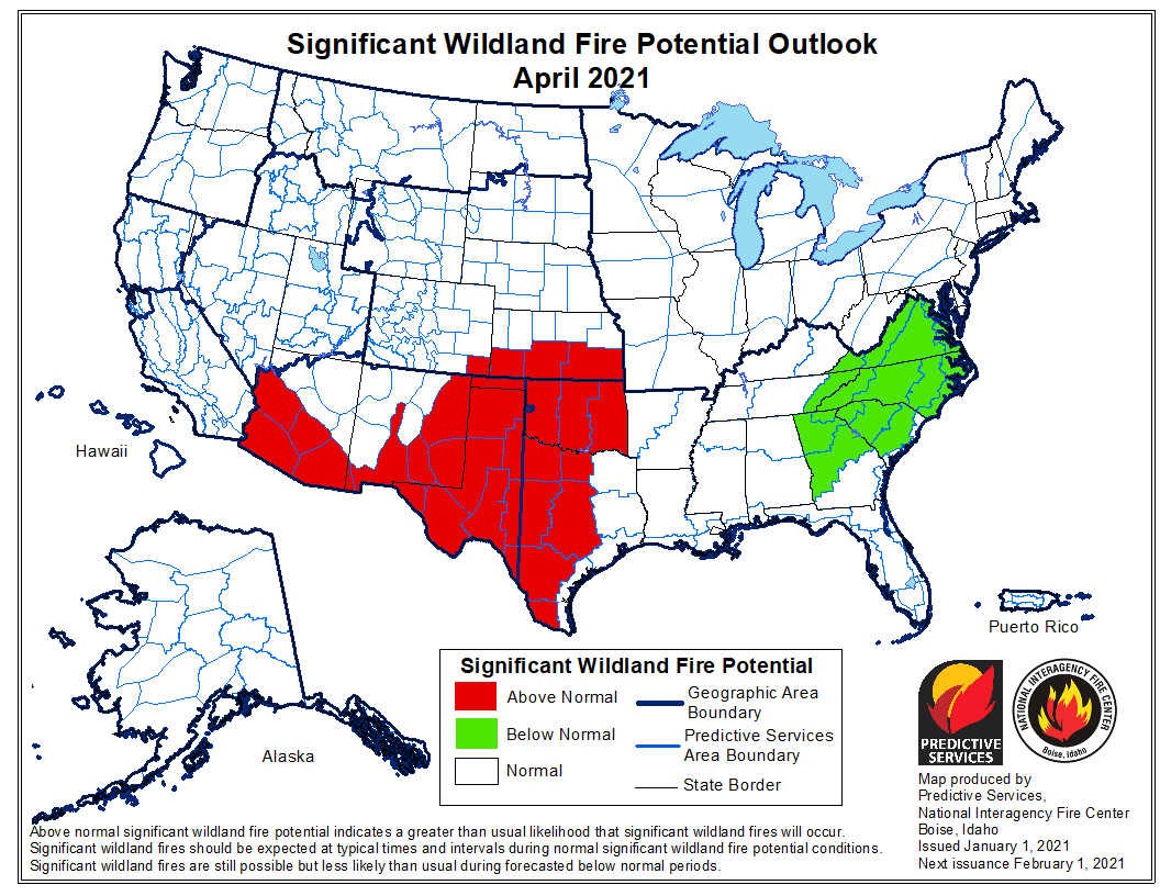 wildfire potential April, 2021