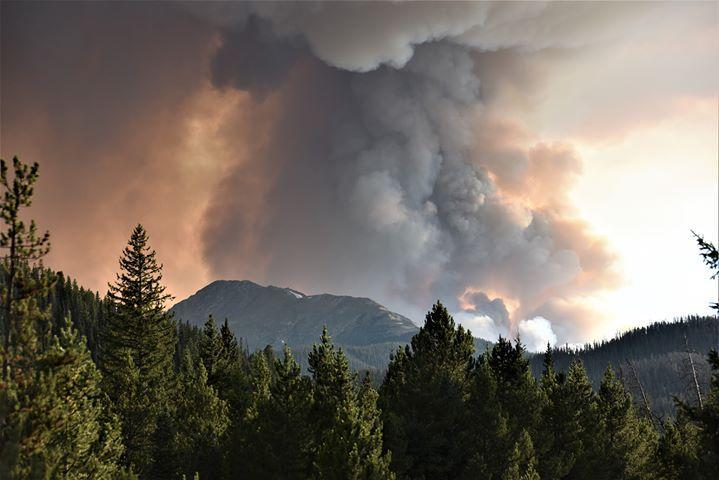 Smoke column from the Williams Fork Fire