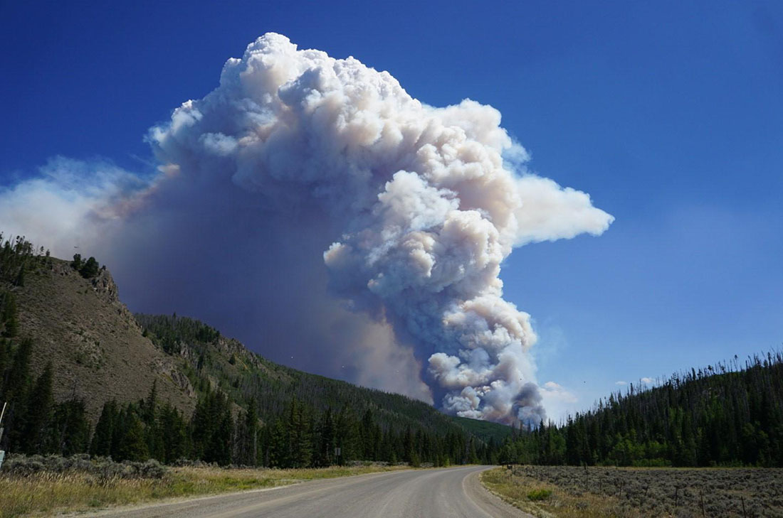 Smoke column from the Williams Fork Fire in Colorado