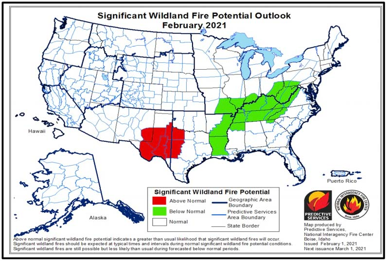 Wildfire potential February, 2021