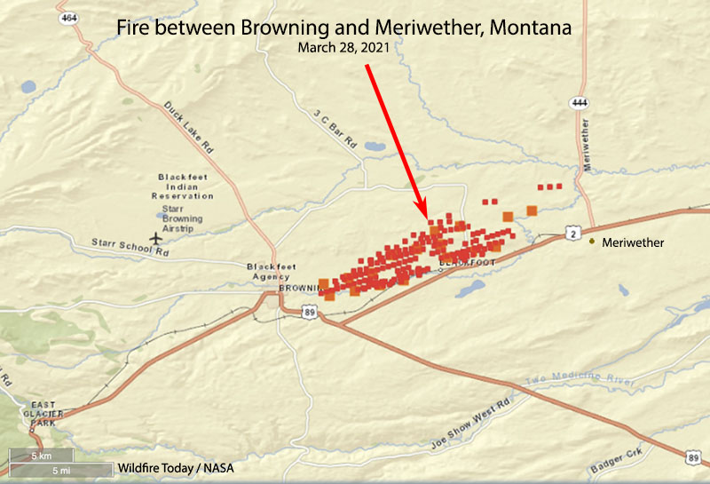 map fire east of Browning, MT