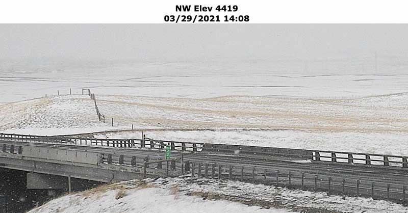 Montana DOT camera at Browning, MT shows snow