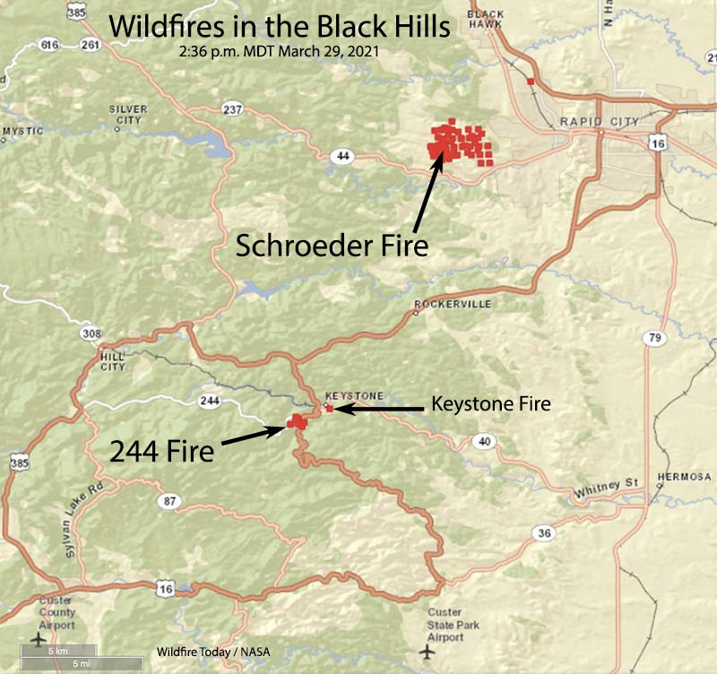 Map showing wildfires in the Black Hills