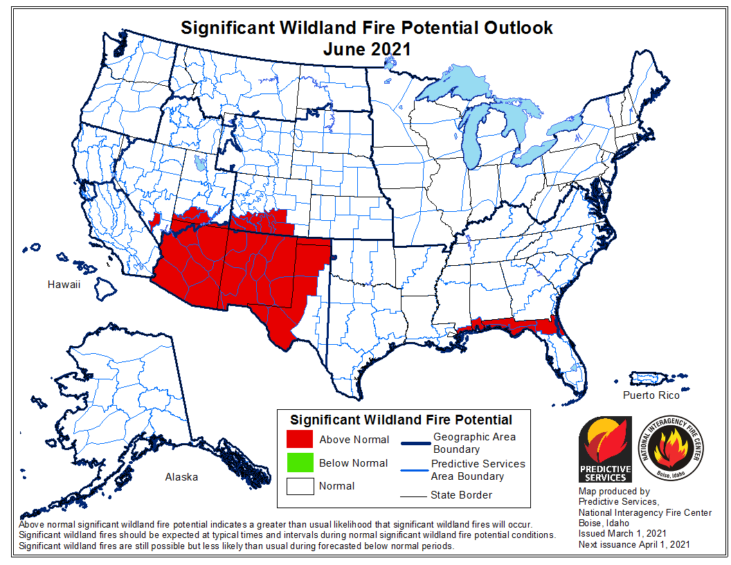 wildland fire potential outlook forecast
