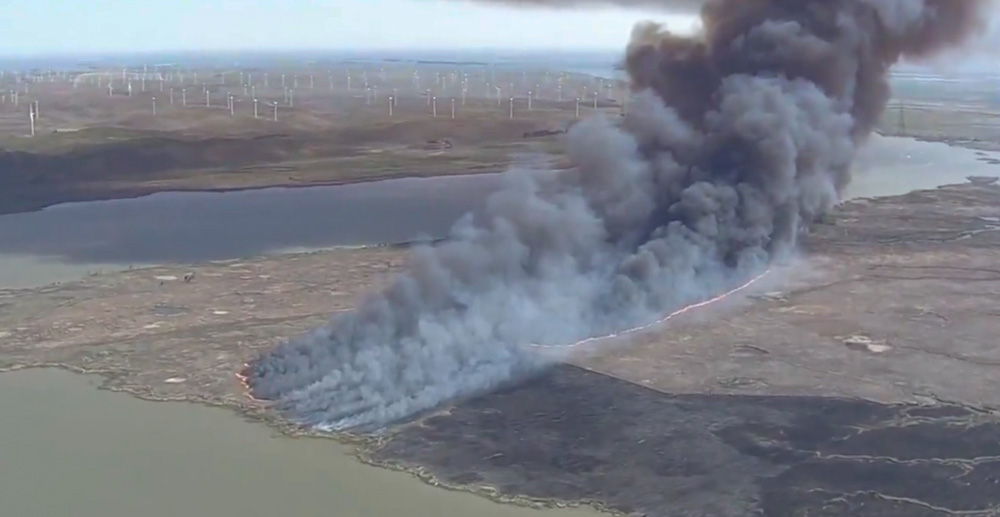 Fire on Sherman Island, April 2, 2021.