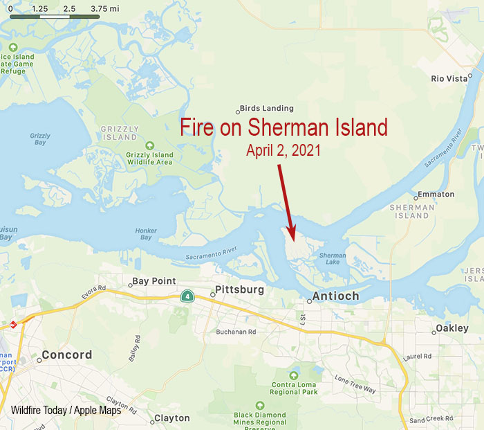 Map of fire on Sherman Island, April 2, 2021.
