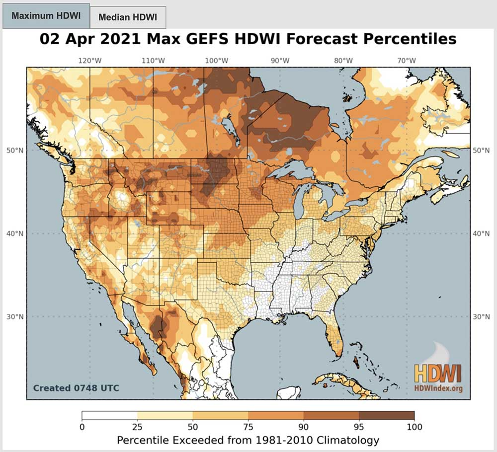 Hot, Dry, Windy Index for April 2, 2021