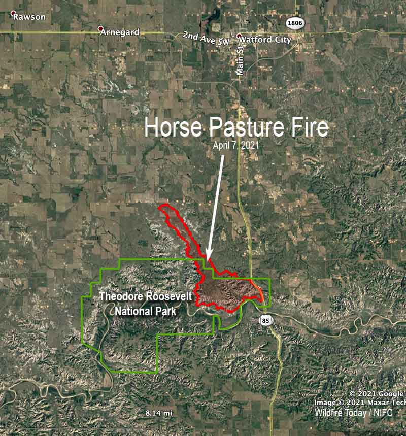 Map Horse Pasture Fire April 7, 2021