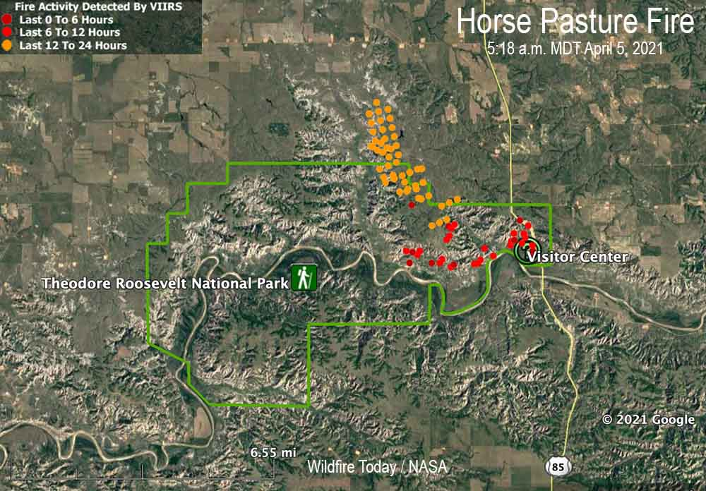 Map of the Horse Pasture Fire in North Dakota