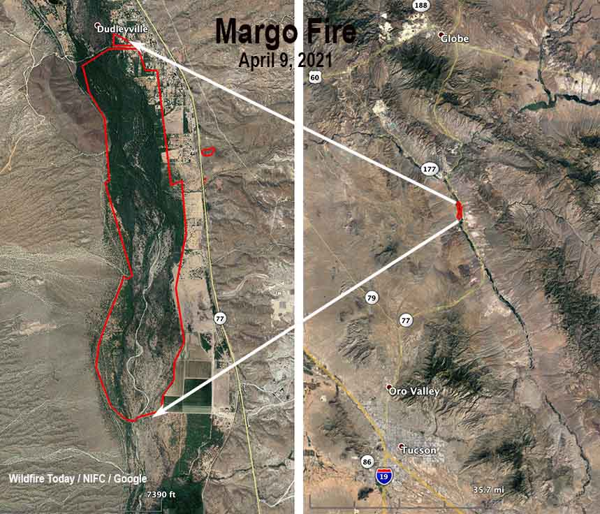 Map of the Margo Fire at Dudleyville, Arizona