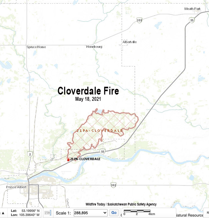 Map of the Cloverdale Fire