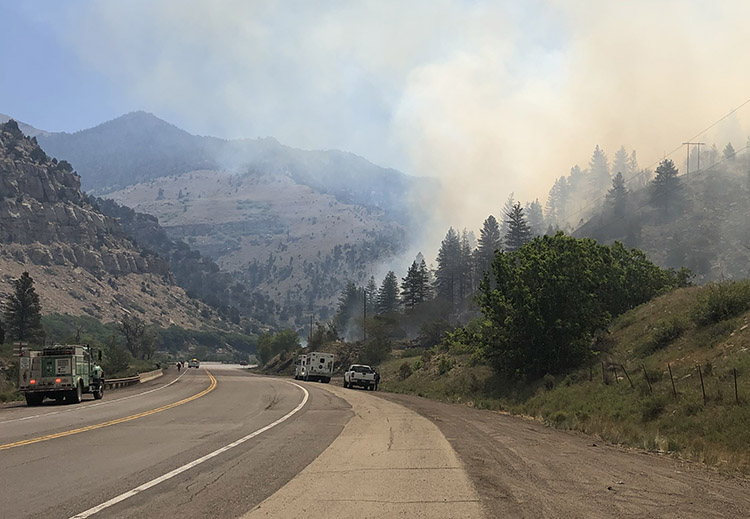 Firefighters at the Pack Creek Fire