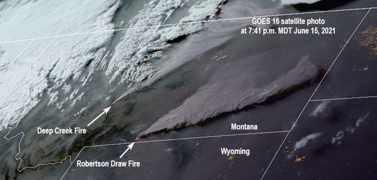 satellite photo two wildfires in Montana June 15, 2021