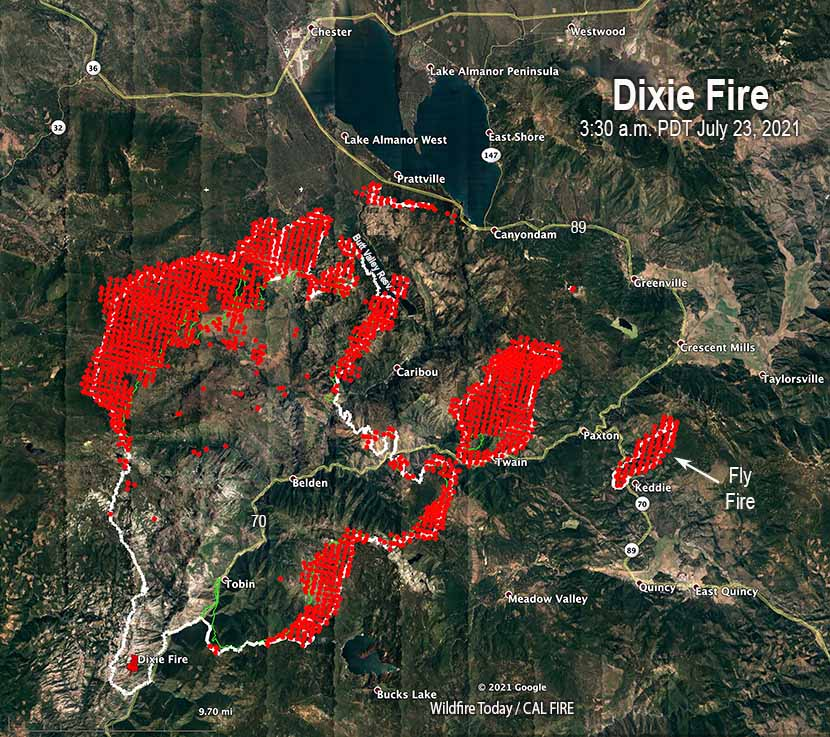 Dixie Fire map the white line was the perimeter 330 a.m. PDT July 23, 2021