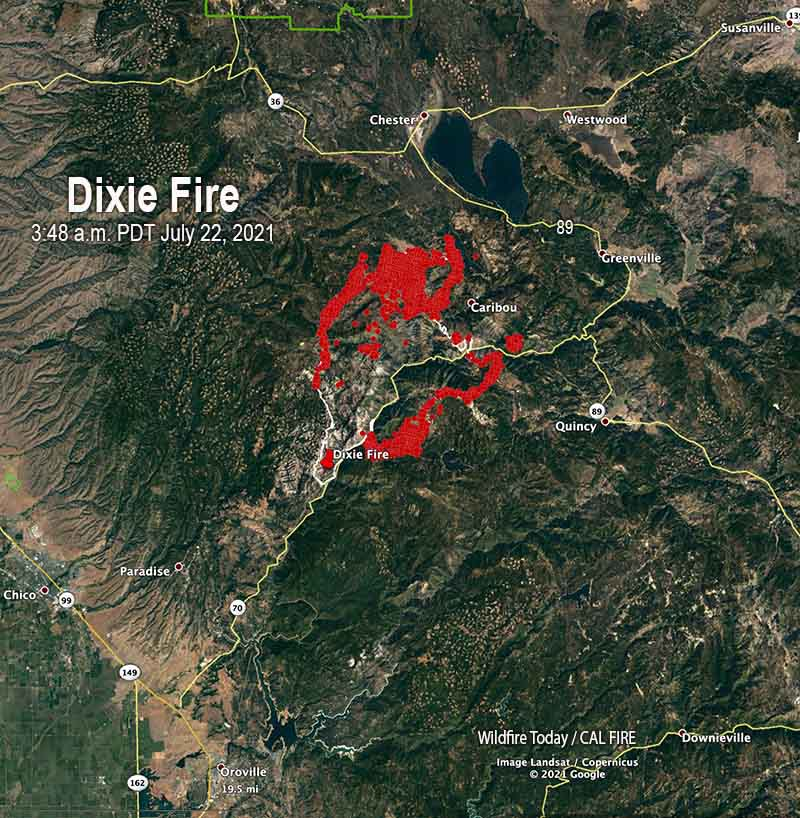 Map of the Dixie Fire