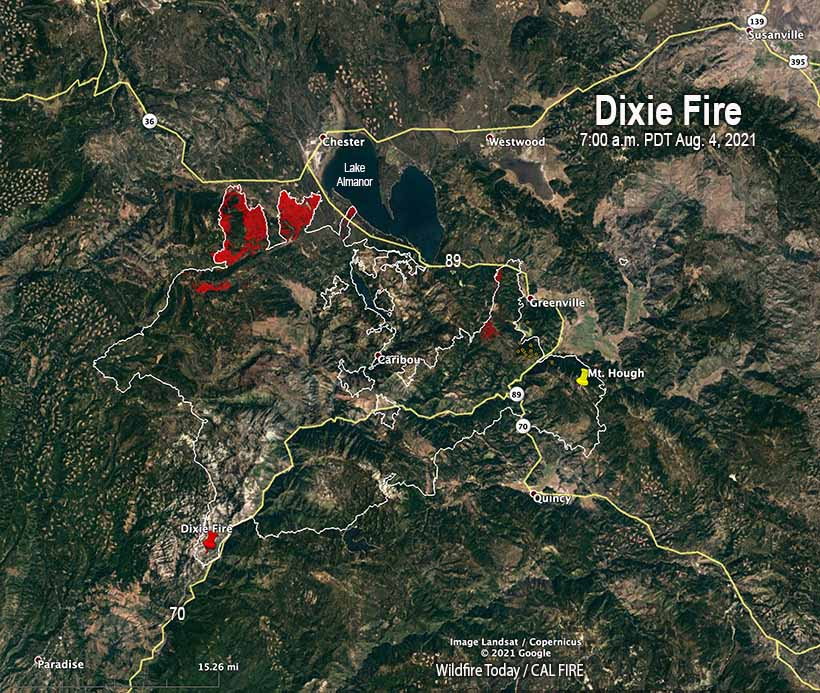 Map of the Dixie Fire at 7 a.m. PDT Aug 4, 2021
