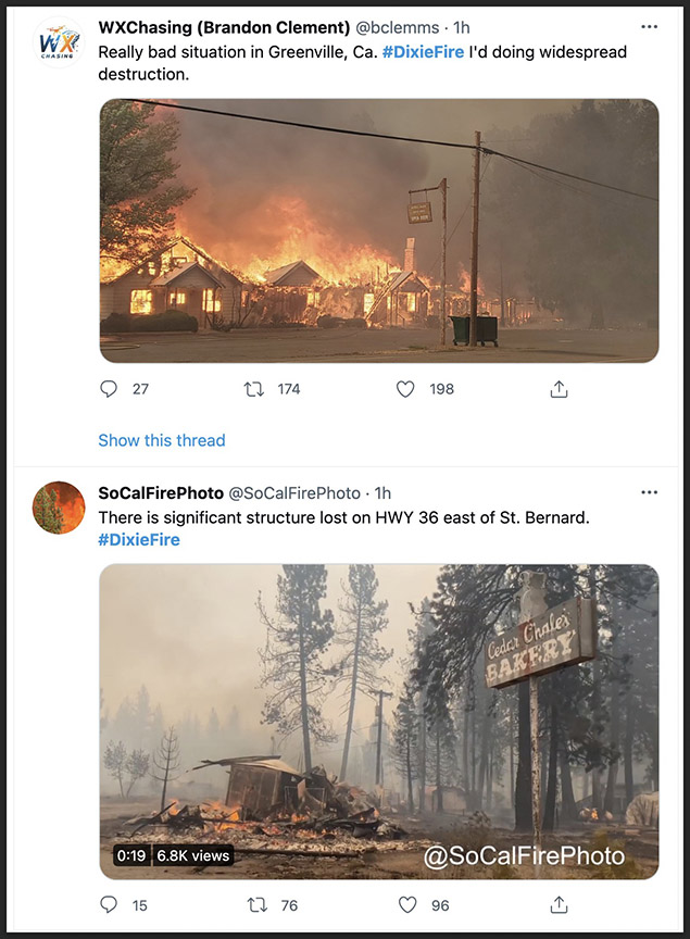 Dixie Fire damages structures in Greenville, CA