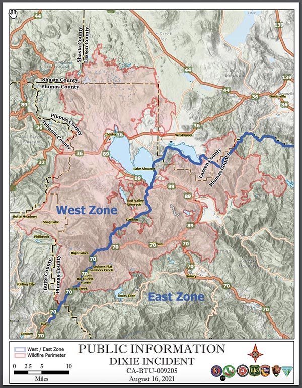 Dixie Fire, new East and West Zones