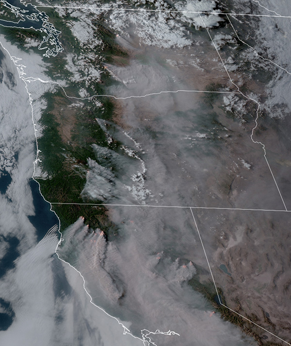 Satellite photo, Western Fires at 6:26 p.m. PDT Aug 19, 2021
