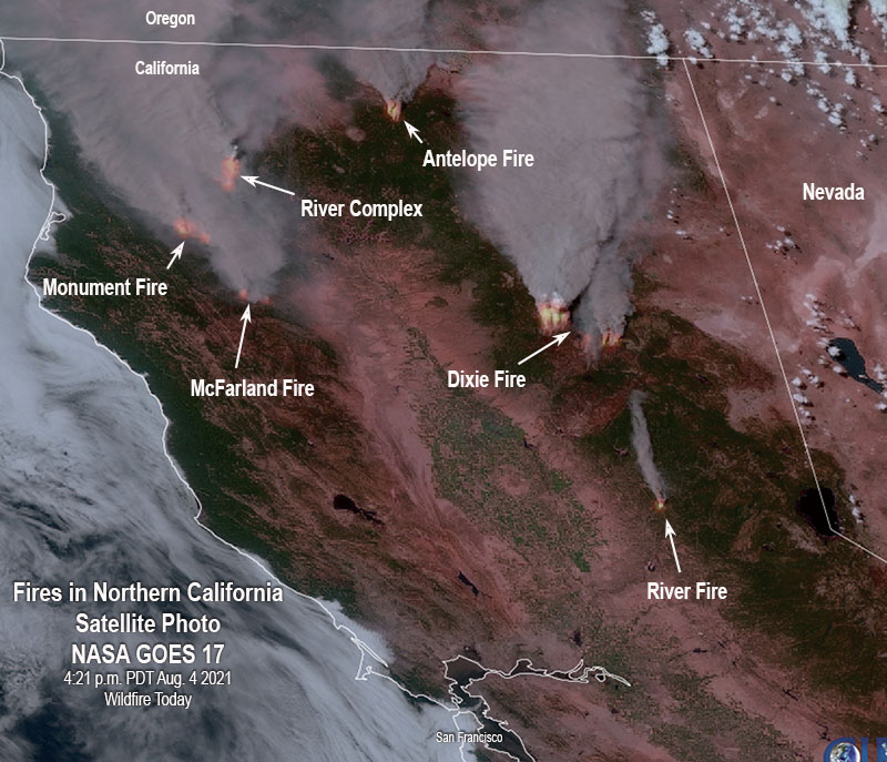 Satellite photo, fires in Northern California