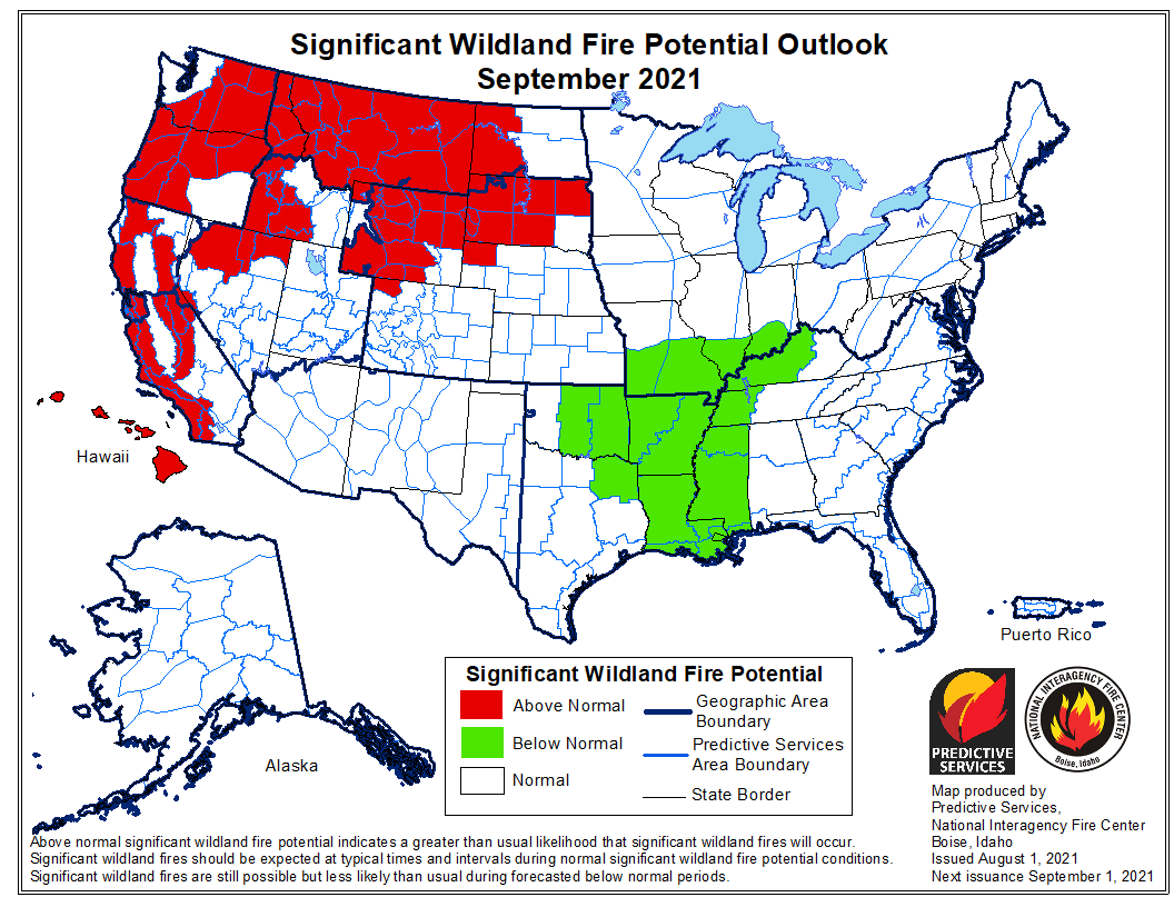 wildfire potential outlook September