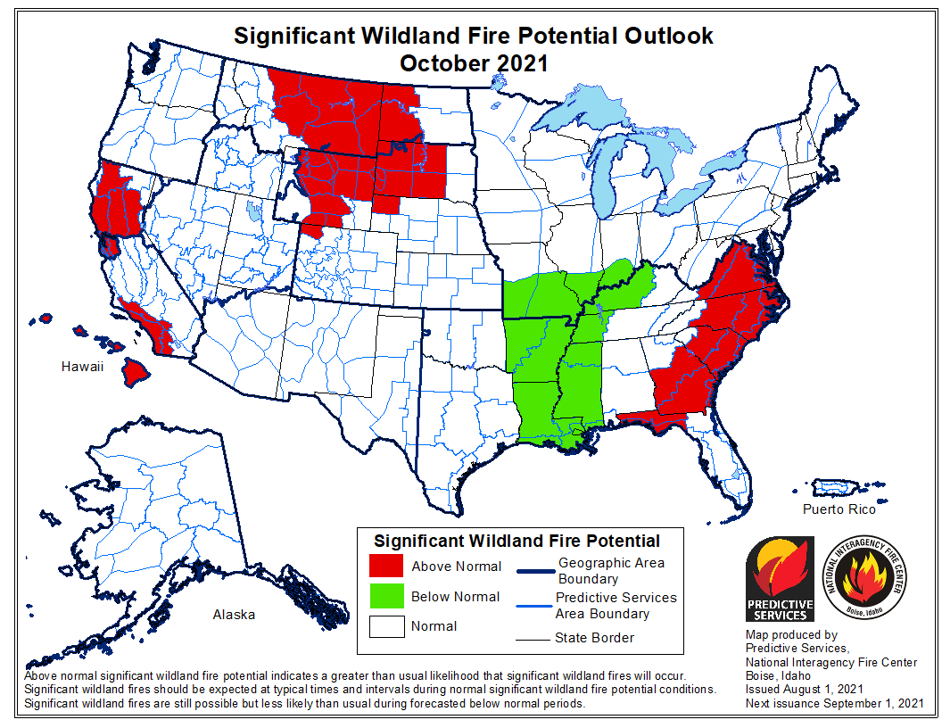 wildfire potential outlook October