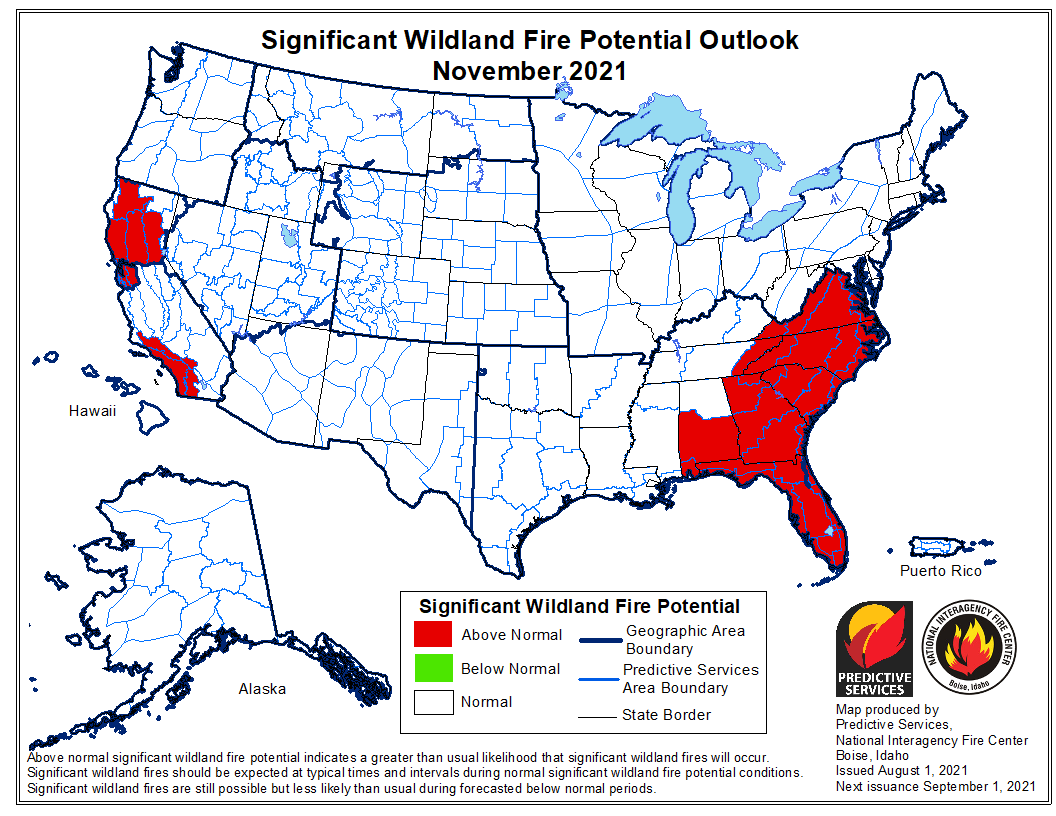 wildfire potential outlook November