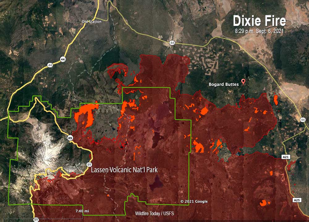 Dixie Fire map north side