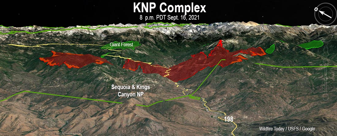 KNP Complex of fires, 3-D map, 8 p.m. PDT Sept. 16, 2021.