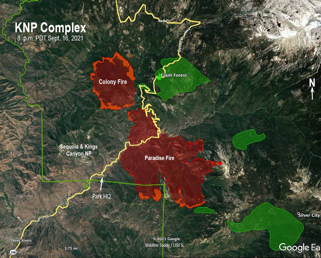 KNP Complex of fires, map, 8 p.m. PDT Sept. 16, 2021